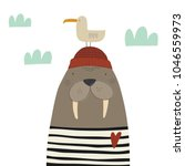 hand drawn walrus. love sea | Shutterstock .eps vector #1046559973