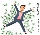 a rich man lays in the money | Shutterstock .eps vector #1046572687