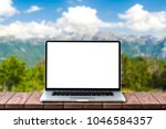 modern laptop with empty white... | Shutterstock . vector #1046584357