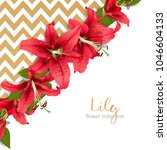 wedding invitation with lily... | Shutterstock .eps vector #1046604133