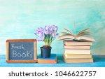 open book and a blackboard... | Shutterstock . vector #1046622757