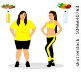 thin and fat. proper nutrition. ... | Shutterstock . vector #1046640763
