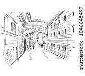 silhouettes gondola venice... | Shutterstock .eps vector #1046645497