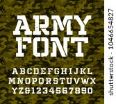 army stencil alphabet font.... | Shutterstock .eps vector #1046654827