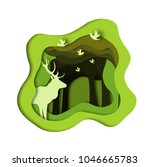 green forest with deer and... | Shutterstock .eps vector #1046665783