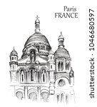 Sketch of Paris arcitecture on white background. Hand drawn urban illustration of cathedral. Travel sketching