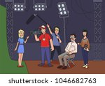 shooting a movie or a tv show.... | Shutterstock .eps vector #1046682763