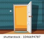 open door. cartoon illustration.... | Shutterstock . vector #1046694787