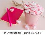 fluffy pink heart marshmallow... | Shutterstock . vector #1046727157