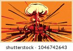 nuclear bomb explosion... | Shutterstock .eps vector #1046742643