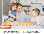 young family cooking in the...   Shutterstock . vector #1046840863