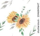 sunflower leaves seamless... | Shutterstock . vector #1046849647