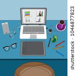 illustration of home office and ...   Shutterstock . vector #1046877823
