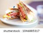 bacon  eggs  lettuce and tomato ... | Shutterstock . vector #1046885317