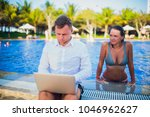 woman distracting from the work ...   Shutterstock . vector #1046962627