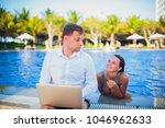 woman distracting from the work ...   Shutterstock . vector #1046962633