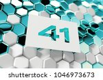 white number 41 on the aqua... | Shutterstock . vector #1046973673