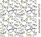 Seamless Background of Colorful Vintage and Modern Glasses (vector illustration) - stock vector