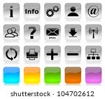 Black on white glossy internet icons series and five colors blank customizable buttons - stock photo