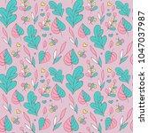 seamless pattern with cartoon... | Shutterstock .eps vector #1047037987
