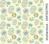 seamless pattern with cartoon... | Shutterstock .eps vector #1047037993
