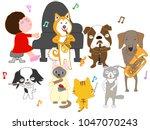 dog and cat concert. children...   Shutterstock .eps vector #1047070243