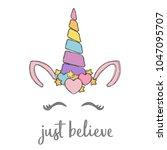 happy unicorn face vector. hand ... | Shutterstock .eps vector #1047095707