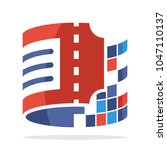 logo icon with online ticket... | Shutterstock .eps vector #1047110137