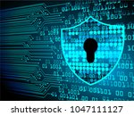 safety concept  closed padlock... | Shutterstock .eps vector #1047111127