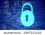 safety concept  closed padlock... | Shutterstock .eps vector #1047111133