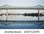 Tobin Memorial Bridge or Mystic River Bridge in Boston, Massachusetts - stock photo
