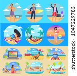 freelance summer people...   Shutterstock .eps vector #1047229783