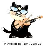 Stock vector cat plays on violin 1047230623