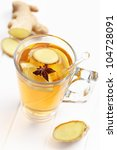 Refreshing Ginger ale lemonade with anise - stock photo