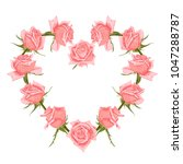 hand drawn floral wreath with... | Shutterstock .eps vector #1047288787