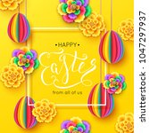 happy easter greeting card with ... | Shutterstock .eps vector #1047297937