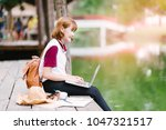 happy hipster young woman...   Shutterstock . vector #1047321517