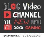 video blogging set. typography...   Shutterstock .eps vector #1047338143