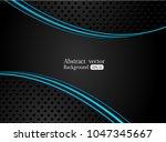 abstract metallic blue black... | Shutterstock .eps vector #1047345667
