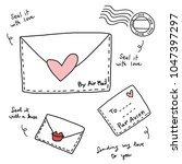 set of vintage airmails which... | Shutterstock .eps vector #1047397297