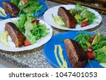 cooking duck breast for special ... | Shutterstock . vector #1047401053