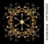 zentangle elegant snow flake.... | Shutterstock .eps vector #1047421633