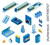 isometric set of various... | Shutterstock .eps vector #1047458767