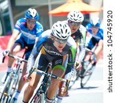 ARLINGTON, VIRGINIA - JUNE 9: Cyclists compete in the U.S. Air Force Cycling Classic on June 9, 2012 in Arlington, Virginia - stock photo