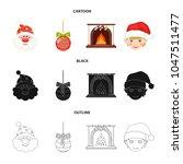 santa claus  dwarf  fireplace... | Shutterstock .eps vector #1047511477