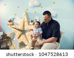 hapiness and beatiful family | Shutterstock . vector #1047528613