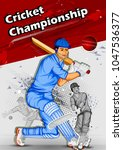 batsman sports player playing... | Shutterstock .eps vector #1047536377