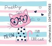 cute pretty cat animal vector...   Shutterstock .eps vector #1047563083