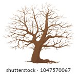tree without leaves. dry wood.  | Shutterstock .eps vector #1047570067