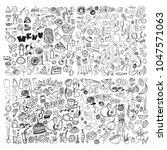 hand drawn food elements. set... | Shutterstock .eps vector #1047571063